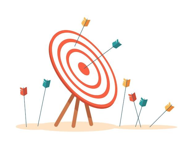 Bullseye mit pfeilen, die auf ein isoliertes ziel mit verpassten und fehlgeschlagenen geschäftsversuchen treffen
