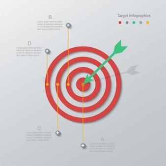 Bullseye rot mit einem grünen pfeil
