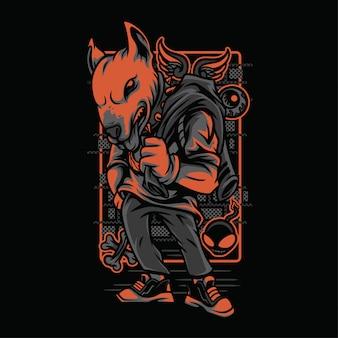 Bullterrier neon graustufen illustration