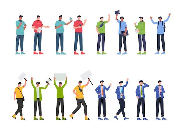 Bundle 4 setzt den mann des charakters, 16 verschiedene posen, lebensstile, karriere und ausdrucksformen jedes charakters in verschiedenen gesten