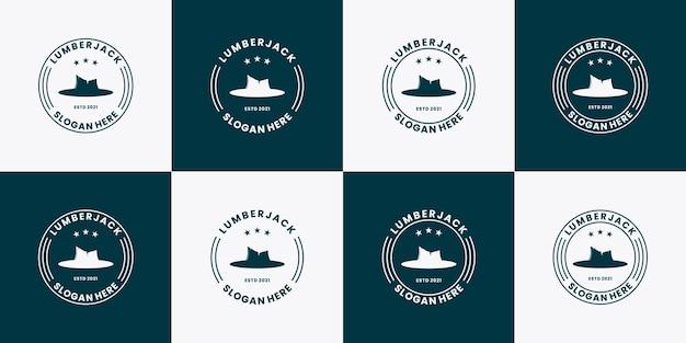 Bundle holzfäller holzfäller logo design vintage