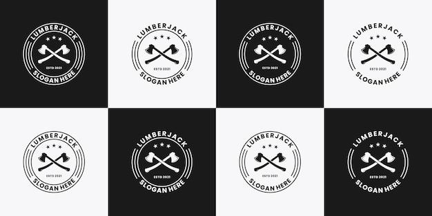 Bundle holzfäller vintage retro holzarbeiten handwerker zimmerei logo design