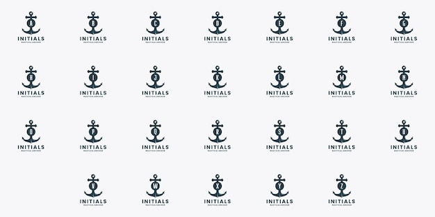 Bundle initialen anker nautischen logo design vektor