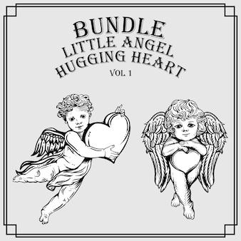 Bundle little angel hugging heart