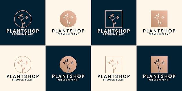 Bundle pflanzenladen logo design florist, blumenladen