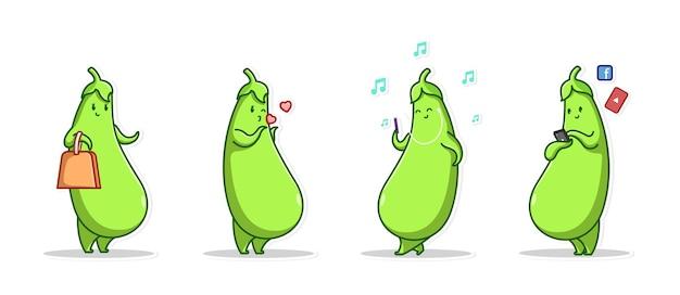Bundle set emoticon und symbol geste niedlichen charakter gemüse der grünen aubergine