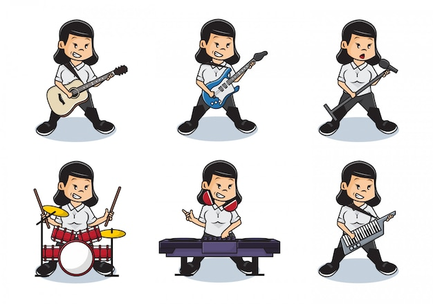 Bundle set illustration von niedlichen mädchen, die musik mit vollem bandkonzept spielen.