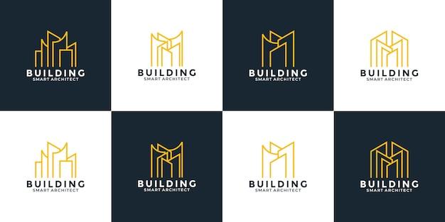 Bundle-set immobilien-logo-design-vorlage für ihren immobilien-hypothekenarchitekten usw