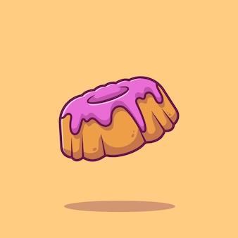 Bundt kuchen cartoon icon illustration. food icon concept isoliert. flacher cartoon-stil