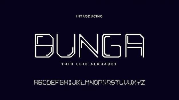 Bunga thin line alphabet schriftart