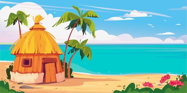 Bungalow auf der malediven-insel mit palmen und tropischen blumen resort-wasservillen-vektor-banner