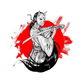 Bunny mask samurai girl illustration