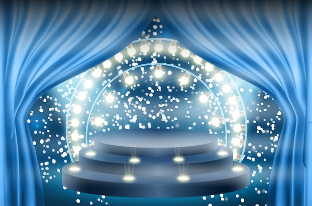 Bunt beleuchtetes podium für auszeichnungen und aufführungen, die von hellen scheinwerfern beleuchtet werden