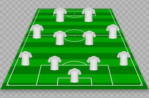 Bunt vom grünen fußball archiviert mit weißen t-shirts