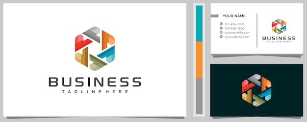 Bunt von buchstabe p logo designvorlage mit visitenkarte