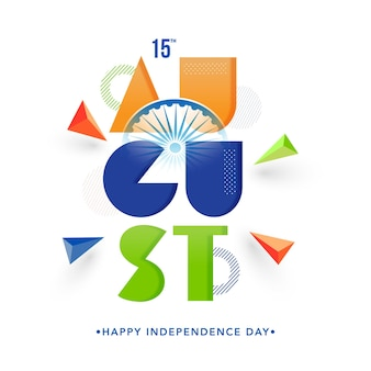 Bunte 15. august text mit 3d-dreieck-element auf weißem hintergrund für happy independence day.