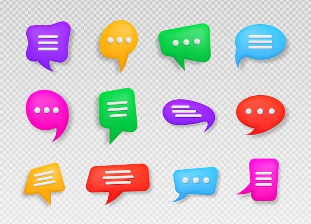 Bunte 3d-sprechblase talk dialog messenger oder online-support-konzept