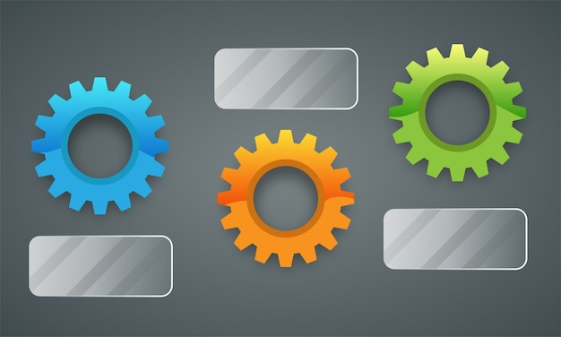 Bunte 3d-zahnräder infografiken für business.