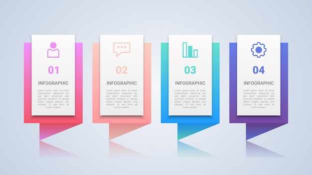 Bunte 4 schritte infographik vorlage