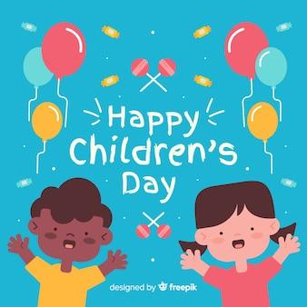 Bunte abbildung der kinder zu feiern