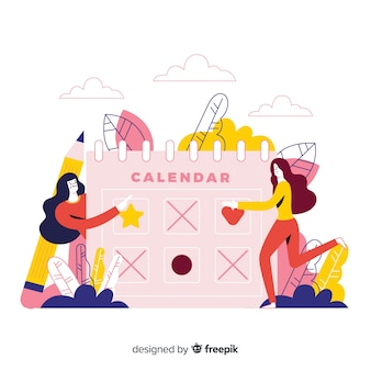 Bunte abbildung mit kalender und leuten