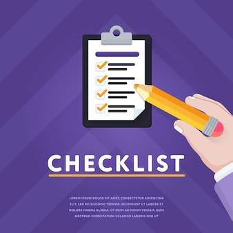 Bunte abbildung mit klemmbrett und checkliste