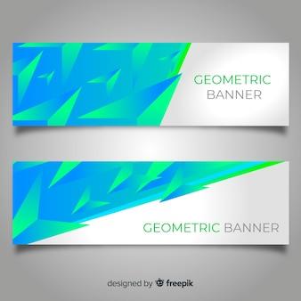 Bunte abstrakte fahnen mit geometrischem design