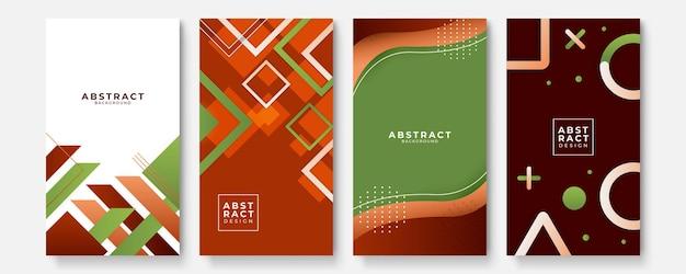 Bunte abstrakte hintergrundvorlagen mit geometrischen dan-wellenformen. zukünftiges geometrisches design. sammlung von vorlagen für broschüren, poster, cover, notizbücher, zeitschriften, banner, flyer und karten.