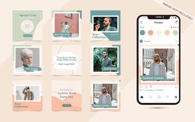 Bunte abstrakte nahtlose social-media-karussell-post-banner für instagram-mode-verkaufsförderung