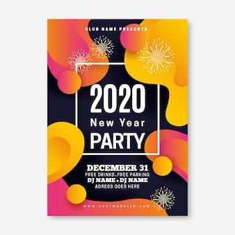 Bunte abstrakte party-flugblattschablone des neuen jahres 2020
