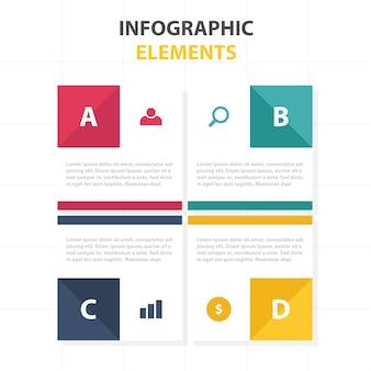 Bunte abstrakte quadratische geschäft infografische vorlage