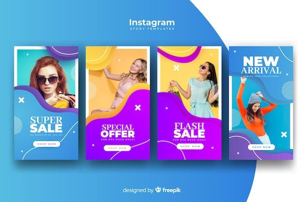 Bunte abstrakte verkauf instagram geschichten mit foto