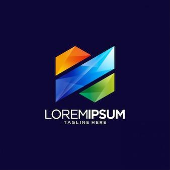 Bunte abstrakte vibrierende logo design template