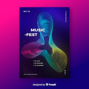 Bunte abstrakte wellenmusik-plakatschablone