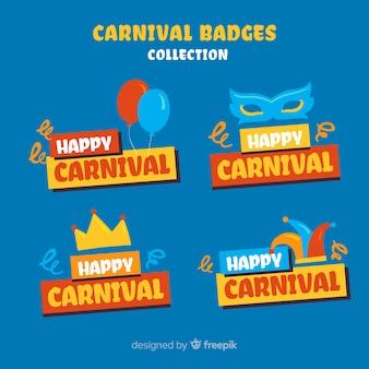 Bunte abzeichen des karnevals eingestellt