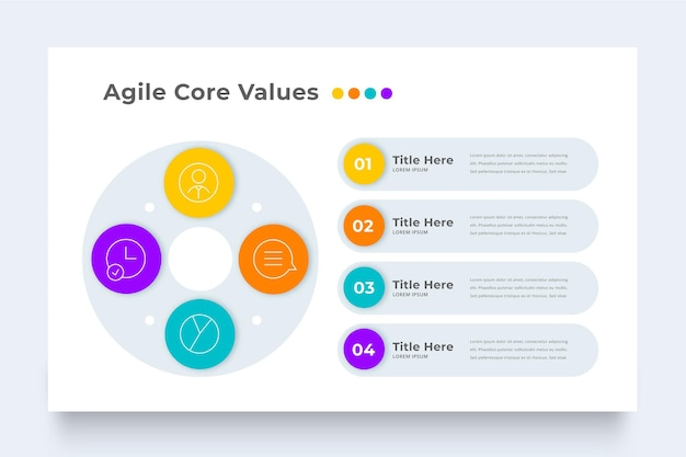Bunte agile infografikschablone