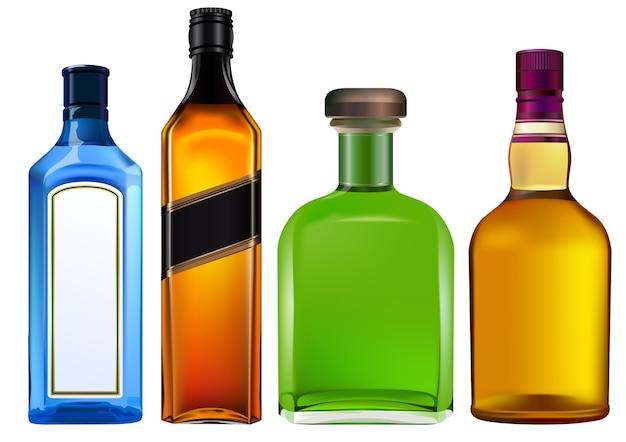 Bunte alkoholflaschen stellten getrennt auf weiß ein