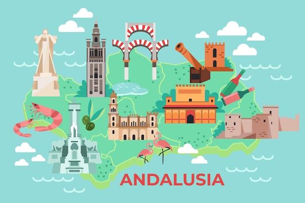 Bunte andalusienkarte mit sehenswürdigkeiten