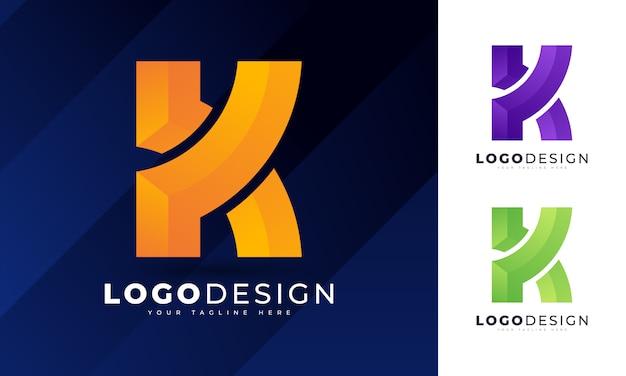 Bunte anfängliche k-buchstaben-logo-entwurfsschablone