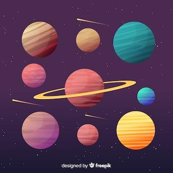 Bunte ansammlung flache planeten