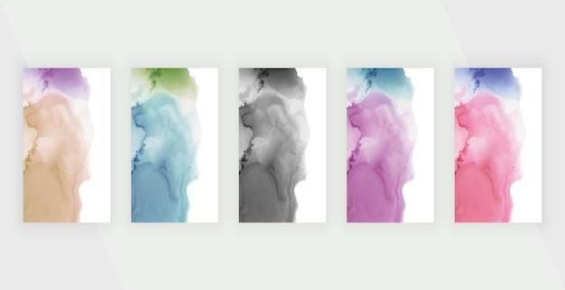 Bunte aquarell-alkoholtinte für social-media-geschichten-banner