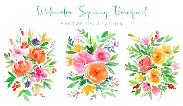Bunte aquarell frühlingsblumenstrauß-kollektion
