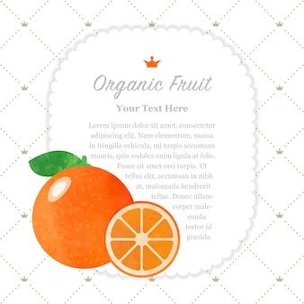 Bunte aquarellbeschaffenheit natur organische frucht memorahmen zitrusorange