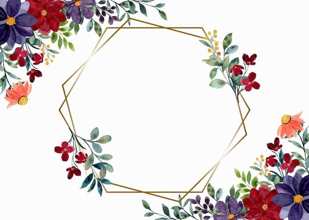 Bunte aquarellblumen mit geometrischem rahmen Premium Vektoren