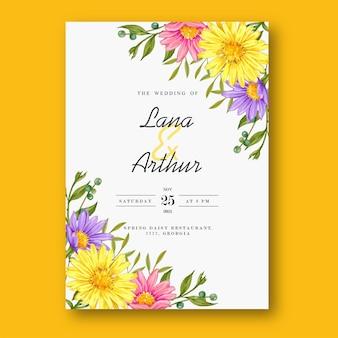Bunte aquarellblumenhochzeitseinladungskarte