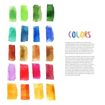 Bunte aquarellgestaltungselemente mit pinselanschlagelementen. palettenkunst. kunstatelierdekoration. vektor