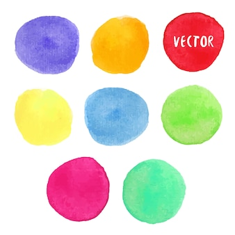 Bunte aquarellgestaltungselemente. vektoraquarellkreisflecke lokalisierten sammlung. aquarellpalette.