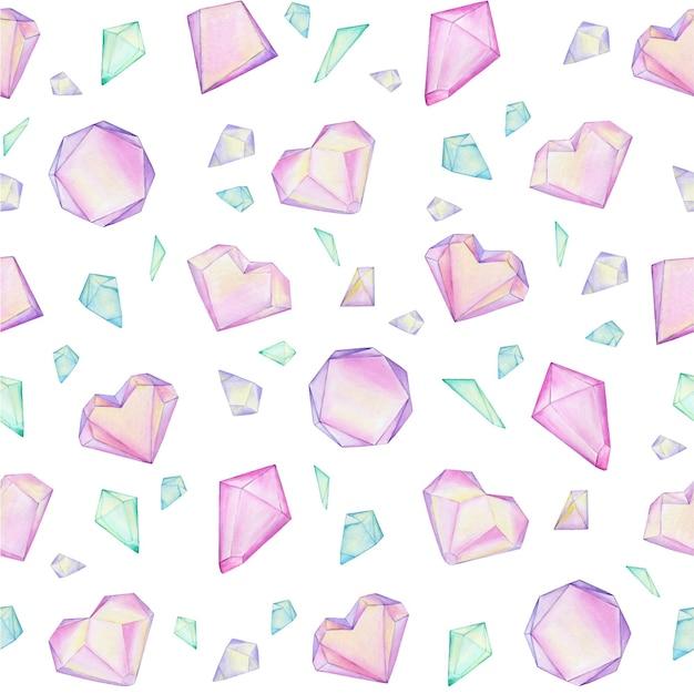 Bunte aquarellkristall-edelsteine sind in einer chaotischen reihenfolge angeordnet. nahtloses muster