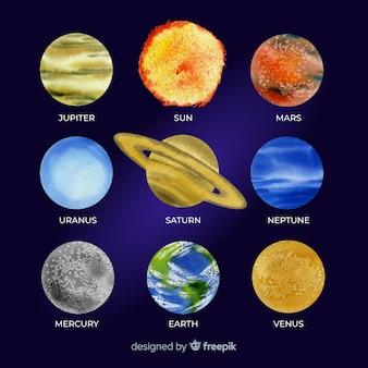 Bunte aquarellplanetensammlung