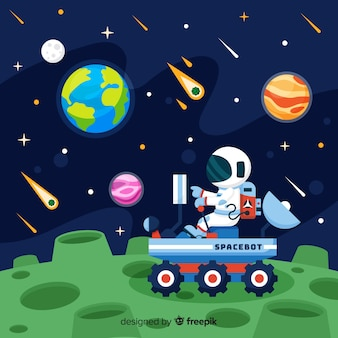 Bunte Astronautenzusammensetzung mit flachem Design